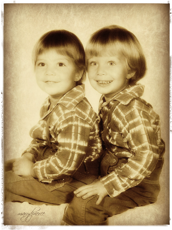 To add to our illusion of our twin-ness, my mother dressed us alike until we revolted.