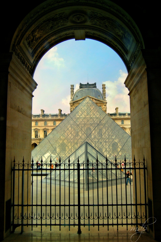 Looking onto the courtyard of the Louvre.